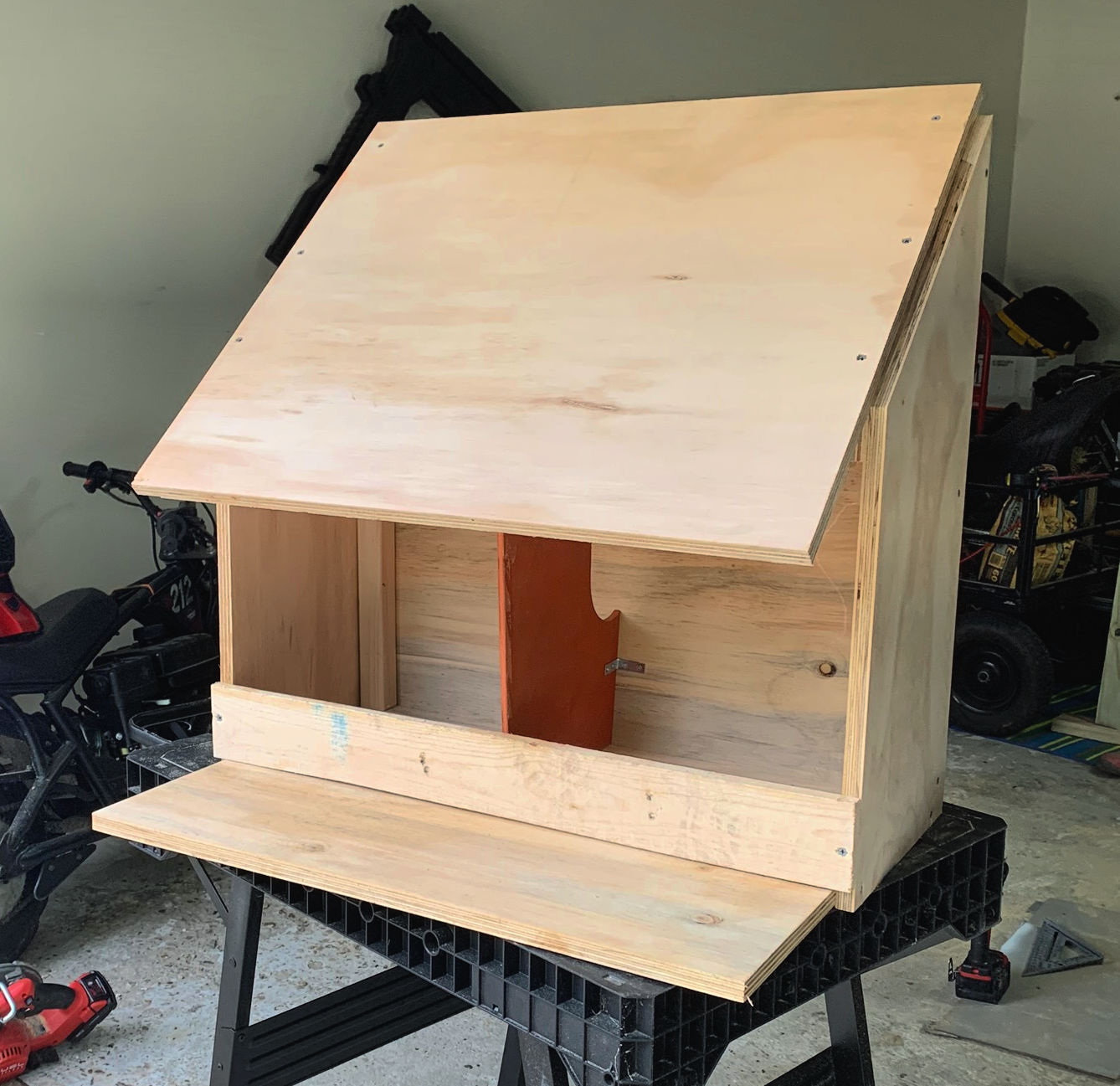 top of nesting box attached using screws