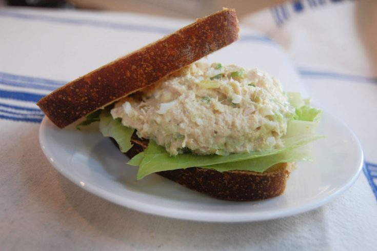 classic tuna salad sandwich on sourdough bread