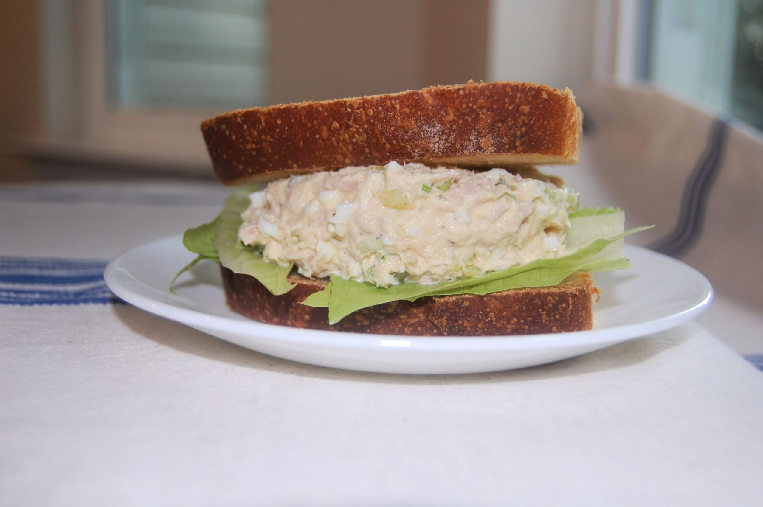 homemade tuna salad on sourdough bread