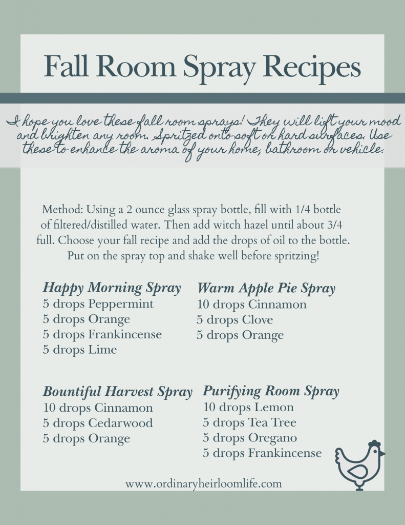 Toxin Free Fall Room Spray recipes