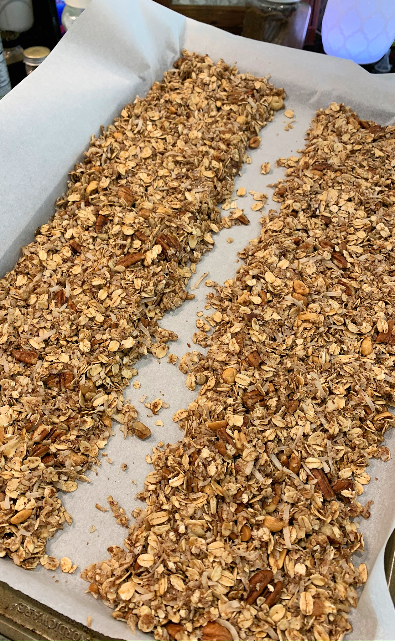 2 rows of granola on pan for baking